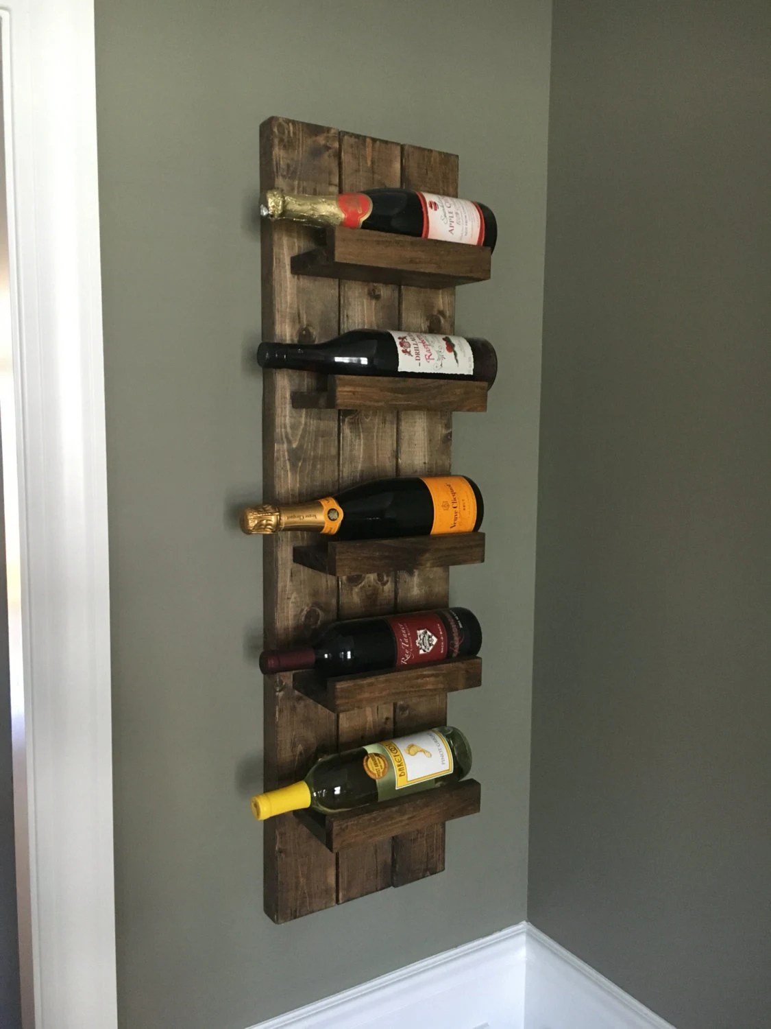 Vertical Wine Cabinet Rustic Wine Rack Spice Rack Wall Mounted Wine Bottle Holder