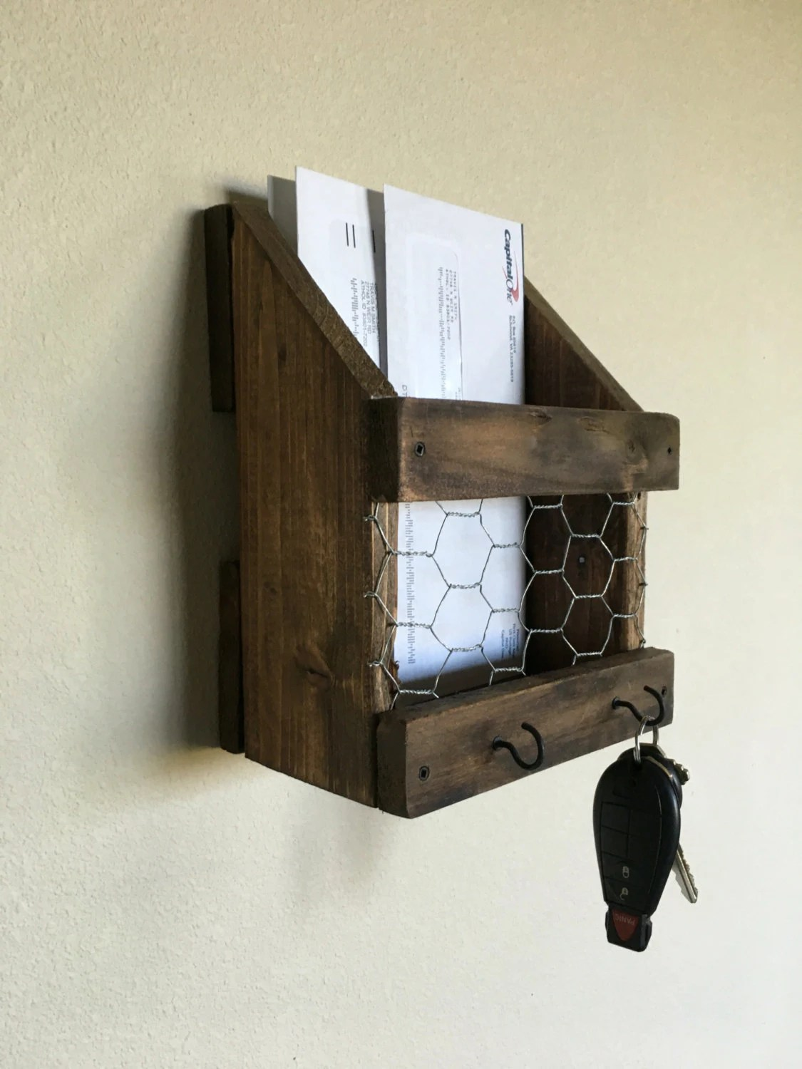 Hanging Mail And Key Organizer Mail And Key Holder Rustic Mail And Key Holder Farmhouse