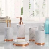 Marmor-Look mit Rose Gold Trim 5 Stck Badezimmer Zubehr-Set