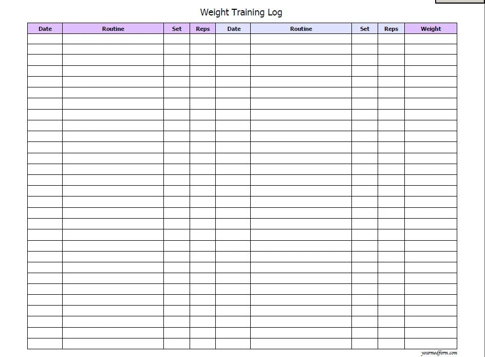 training logs template - Towerssconstruction