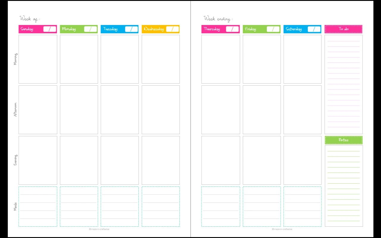 two page weekly planner template - Maggilocustdesign - one week planner template