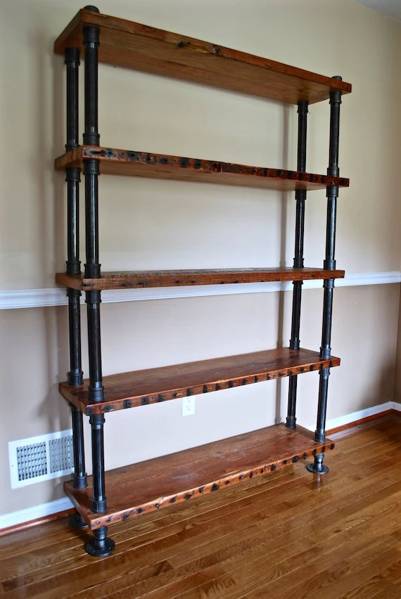 Industrial Pipe and Wood Bookshelf Reclaimed Wood Bookshelf