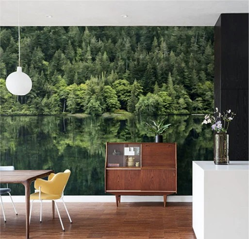Items similar to Mirror Lake Wallpaper Oil Painting Effect Wall Mural National Forest Wall Art ...