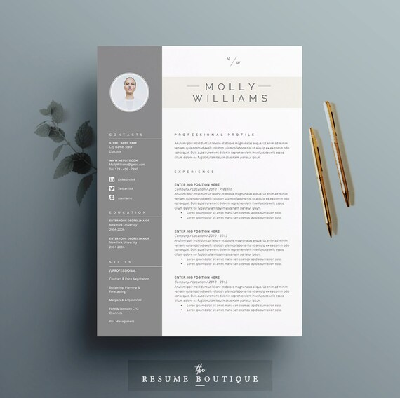 etsy cv template free