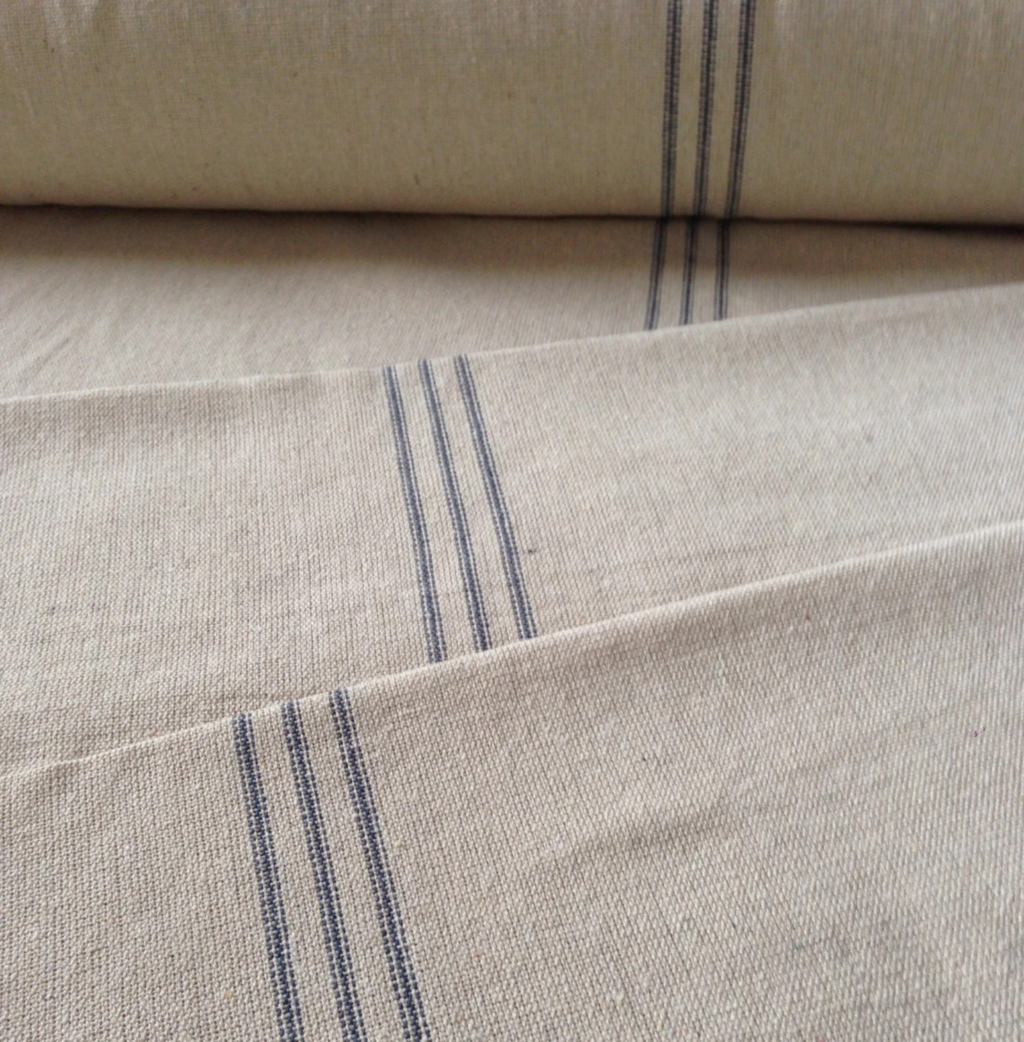 Flour Sack Fabric By The Yard Grain Sack Fabric Sold By The Yard Blue Stripe Vintage