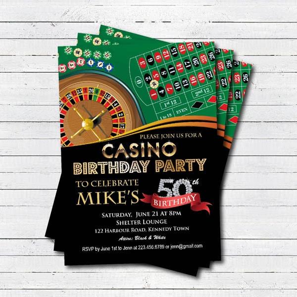 Casino 50th Birthday Invitation Adult Man Birthday Surprise