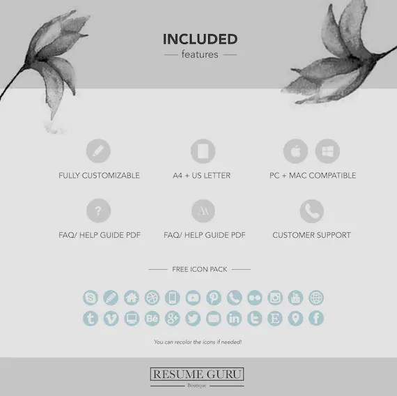 Professional Resume Template Bundle CV Package with Cover - cover letter template free