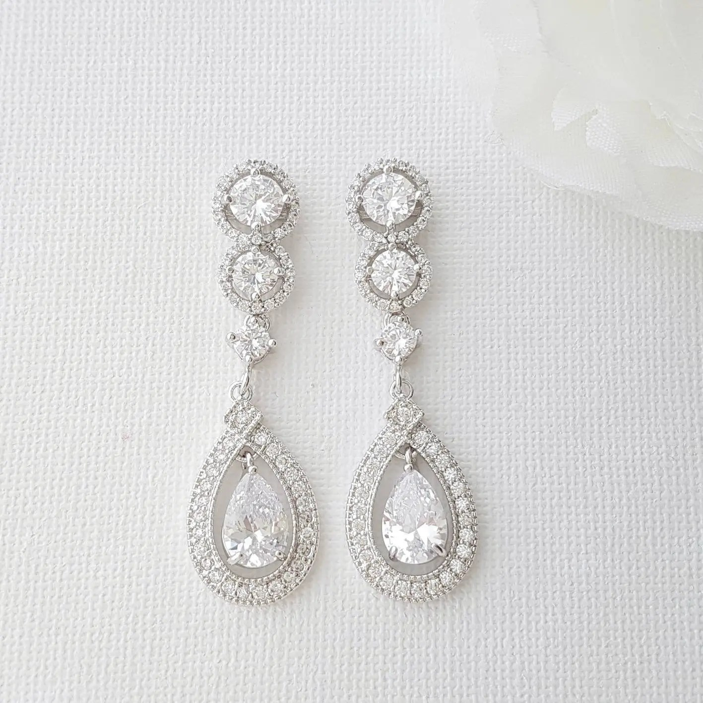Where To Get Bridal Jewelry Crystal Bridal Earrings Long Wedding Earrings Bridal Jewelry Cubic Zirconia Drop Earrings Crystal Wedding Jewelry For Bride Sarah