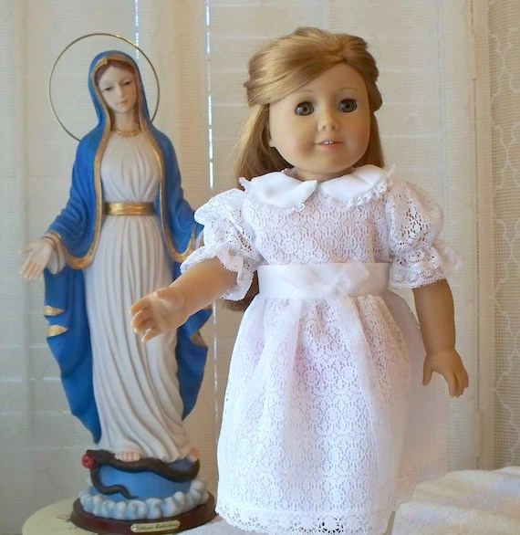 First Communion Dress Fits 18 Inch Doll Doll Dress Handmade