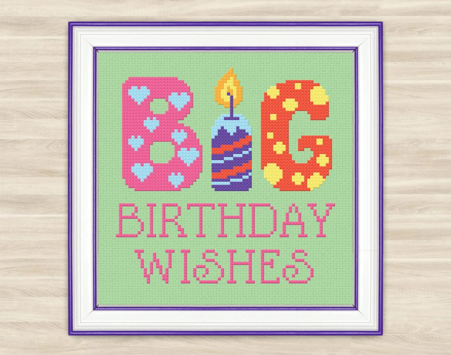 Buy 2 get 1 free Big birthday wishes Cross Stitch Pattern PDF - family reunion invitation cards