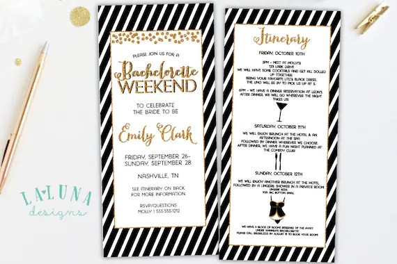 bachelorette party itinerary template