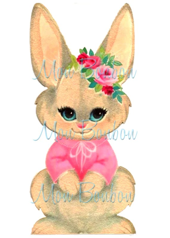Cute Rabbit Wallpaper Free Download Cute Retro Pink Easter Bunny Girl Clip Art Illustration Png