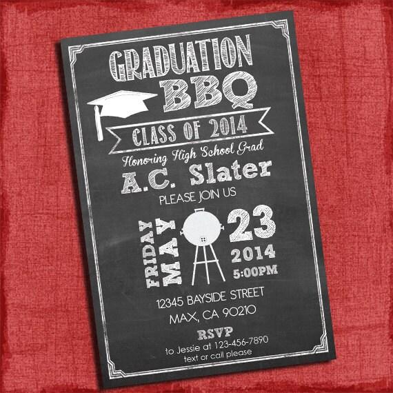 graduation bbq party invitation chalkboard style 4x6 or 5x7
