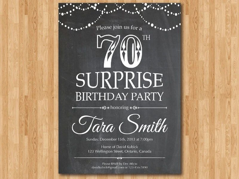 Surprise Birthday Invitation 70th For