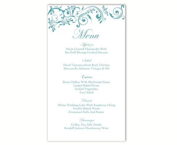 wedding menu templates for microsoft word - Boatjeremyeaton - wedding menu template