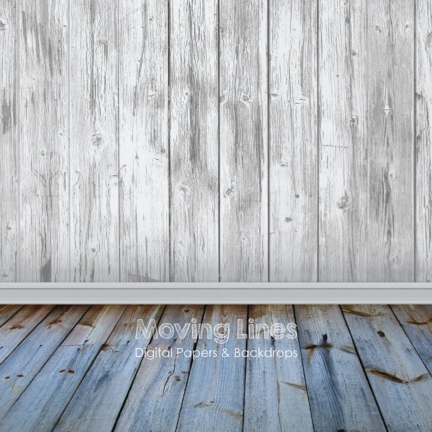 White Wall Baby Photography Backdrop Wood Floor Printable