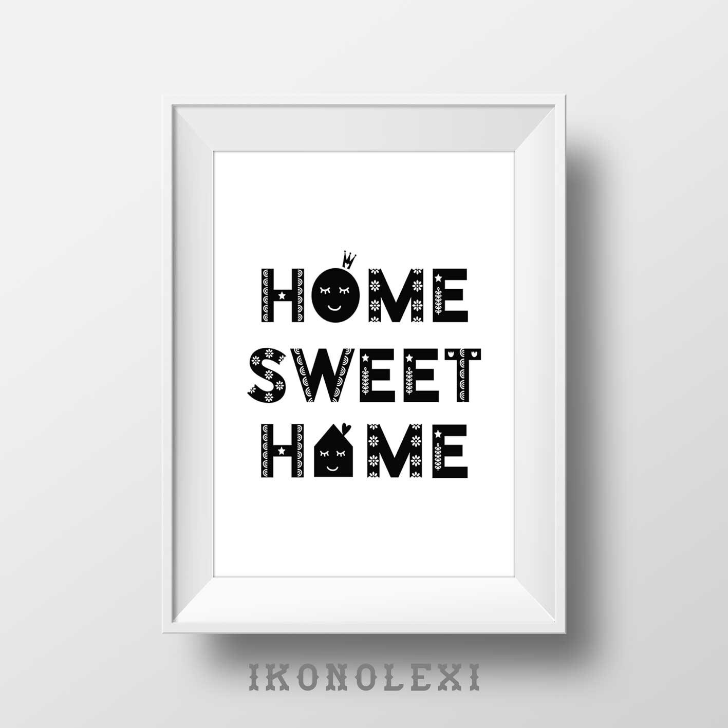 Affiche Scandinave Home Home Sweet Home Wall Prints Kitchen Decor Typography Poster Sweet Home Minimalist Art Hygge Affiche Scandinave Housewarming Gifts