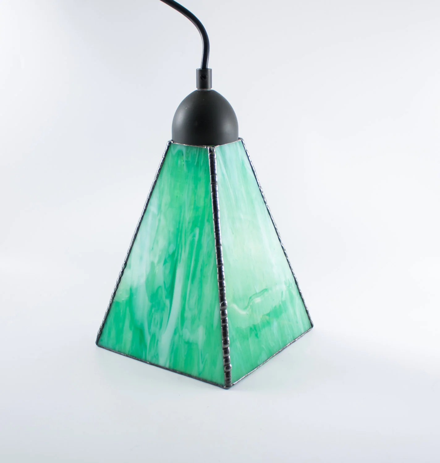 Green Glass Pendant Light Stained Glass Pendant Light Green And White Hanging Lamp