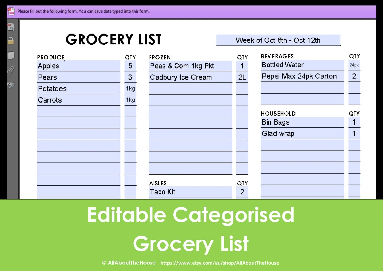 editable grocery list template - Josemulinohouse - grocery shopping template