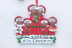Hilarious Brown Family In Pajamas Personalized Ornament In Pajamas Personalized Ornament Africanamerican Family Ornament Personalized Ornament Brown Family
