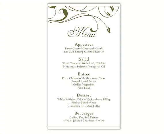 wedding menu template word - Ozilalmanoof