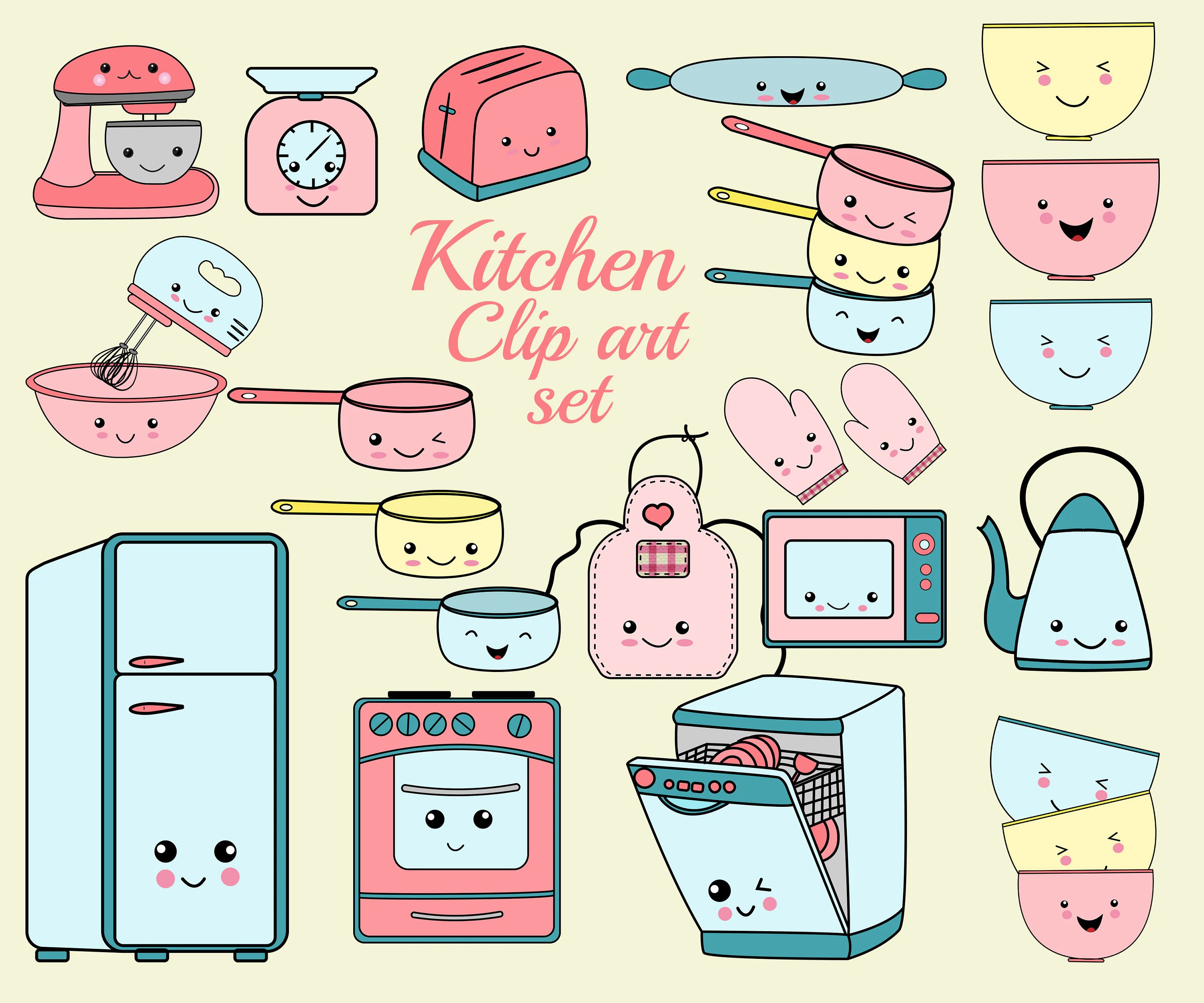 Bilder Küche Clipart Kawaii Kitchen Clip Art Quotkitchen Clipart Set Quot Cooking