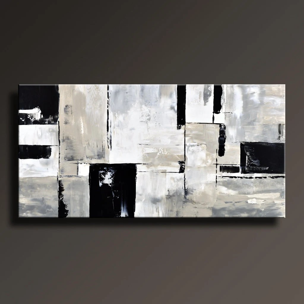 Black White And Gray Paintings Abstract Painting Black White Gray Painting Original Large