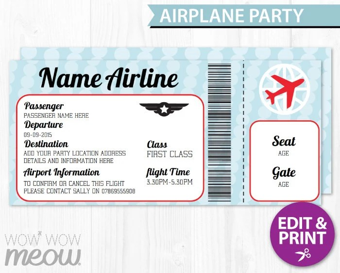 airline ticket template free - Selol-ink