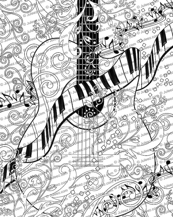 Bilder Zum Ausmalen Jungs Adult Coloring Page Printable Adult Guitar Coloring Poster