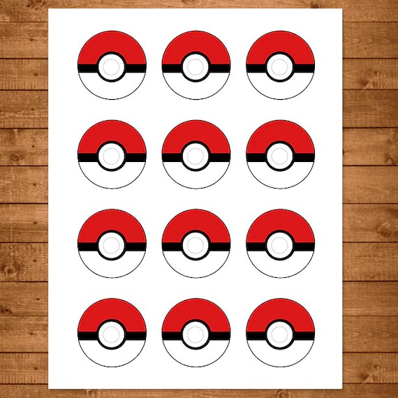 Pokemon Cupcake Toppers Red \ White Pokemon Stickers - birthday invitation templates free word