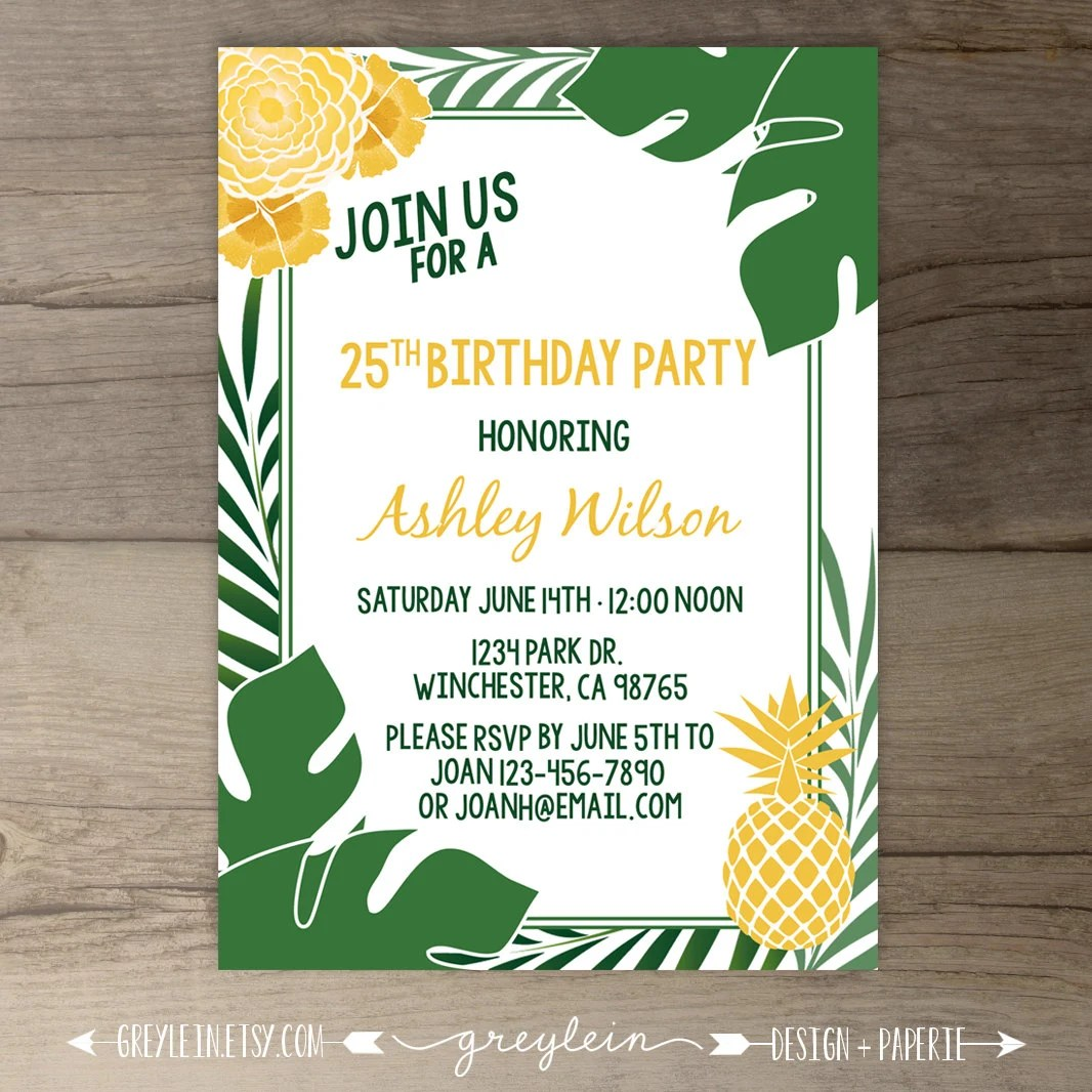 tropical party invites - Towerssconstruction