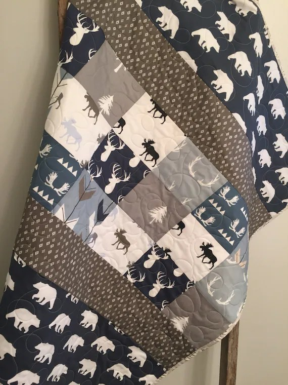 Baby Quilts Handmade Woodland Baby Quilt Baby Boy Bedding Moose Buck Antlers
