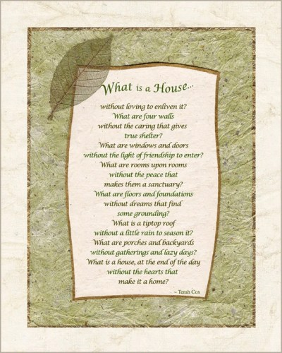 Home housewarming poem for house family gathering