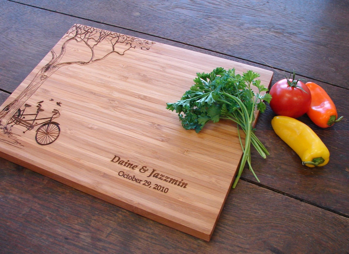I Use This Cutting Board Periodically Personalized Cutting Board With Tree And Tandem Bike