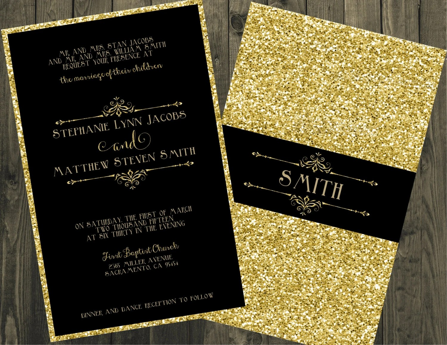 Black Invitations With Gold Lettering Jennies Blog