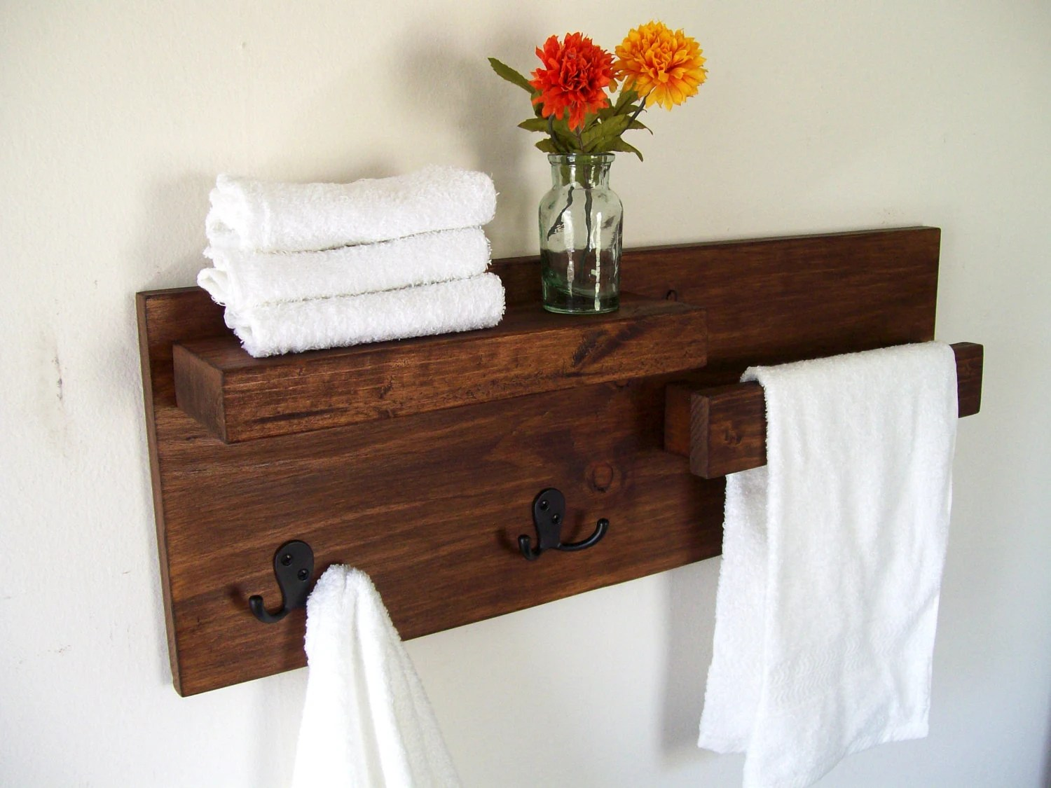 Holz Handtuchhalter Bathroom Shelves Towel Rack Towel Bar Wood Shelf Bathroom