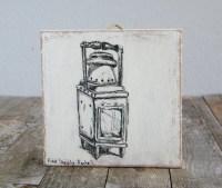 Miniature painting Antique oil lamp print print on wood