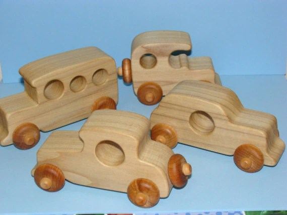 Old Timer S Classic Wooden Toy Cars Set Of 4 Natural