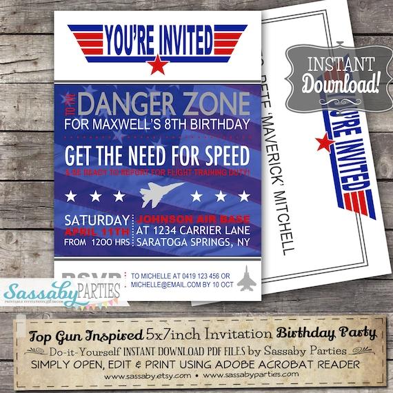 top gun fighter pilot invitation