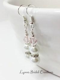 Pale Pink Crystal Earrings Wedding Earrings Bridesmaid