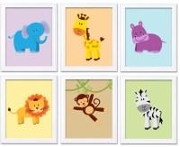 Colorful Africa Animals Jungle Nursery Art Set of 6 Prints