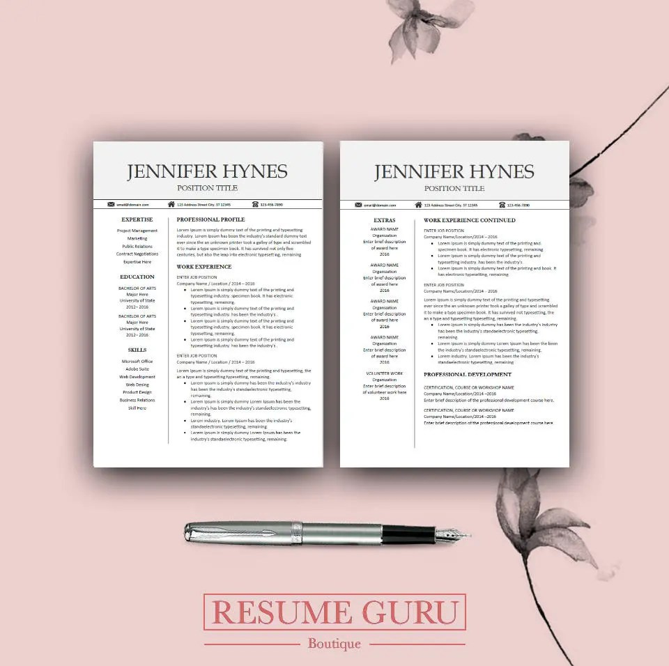 Professional Resume Template Bundle CV Package with Cover - resume template fill in