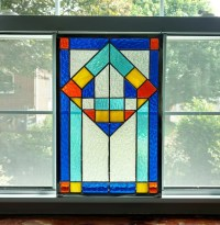 Geometric Stained Glass Panel Stained Glass Window Modern