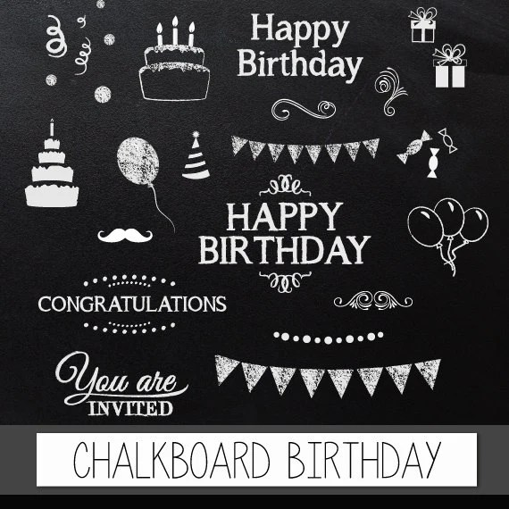 Birthday Balloons Transparent Background Chalkboard Clipart Birthday: Digital Clip Art Chalkboard