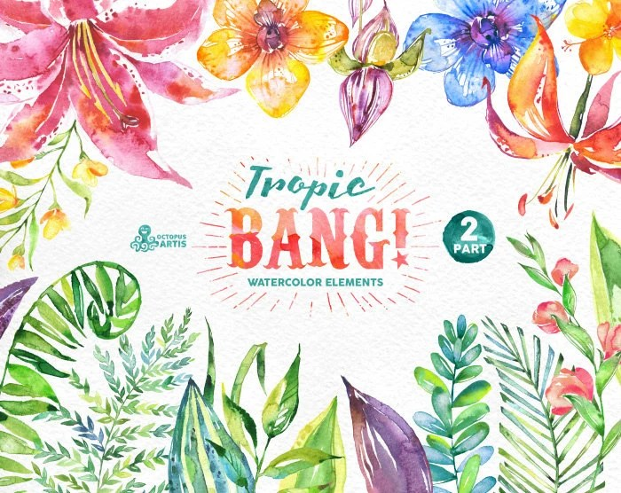 Make Your Own Monogram Iphone Wallpaper Tropic Bang Elements Part 2 Watercolor Clipart Lily