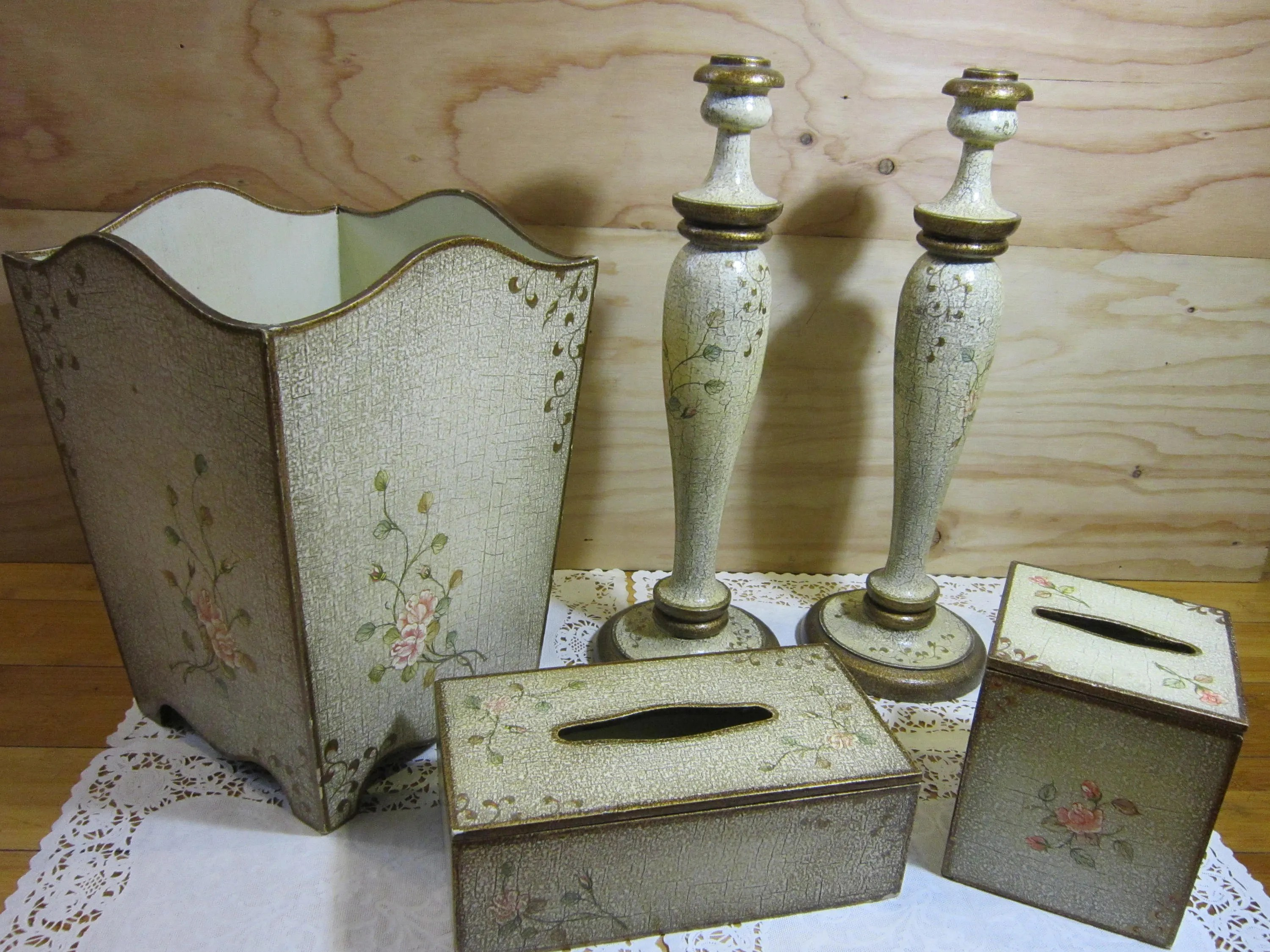 Shabby Chic Waste Baskets Set Of Vintage Shabby Chic Bathroom Decor Wood Waste Basket Wood Tissue Box Covers Wood Candle Holders