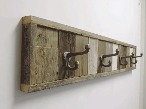 375 Rustic Barnwood Panel Towel Hook Rack 4 Hook