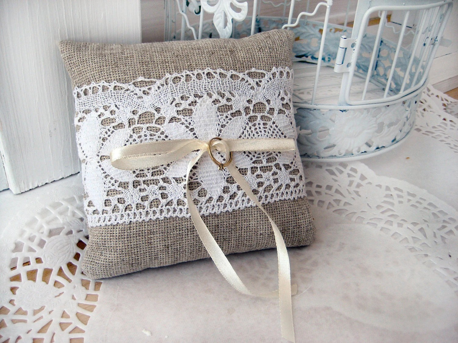 Tende Soggiorno Moderno Online Lace Rustic Wedding Pillow/ Burlap Wedding Ring Pillow/ Ring