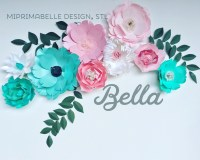 Turquoise wall decor paper flowers wall decor baby girl ...