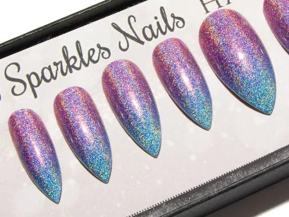 Ombre Nails Holographic Stiletto False Nails Holo Press